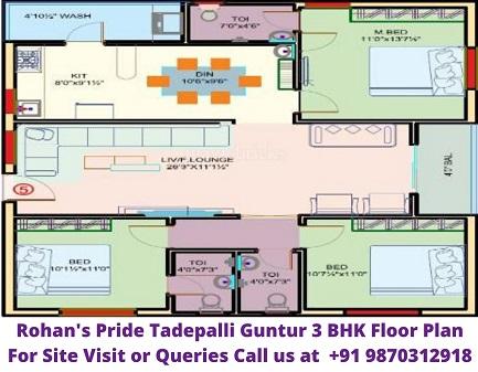 Rohans Pride Tadepalli Guntur 3 BHK Floor Plan