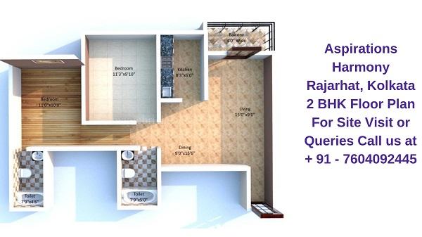 Aspirations Harmony Rajarhat, Kolkata 2 BHK Floor Plan
