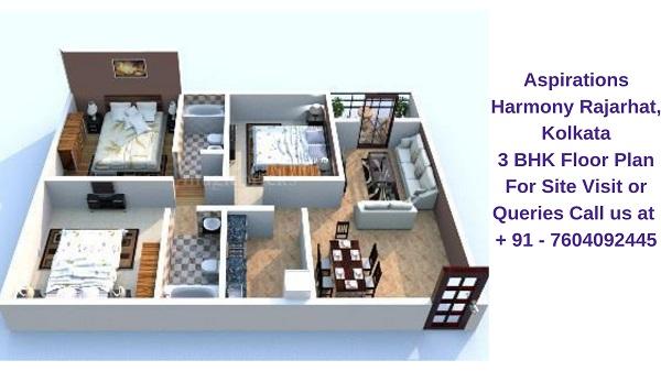 Aspirations Harmony Rajarhat, Kolkata 3 BHK Floor Plan