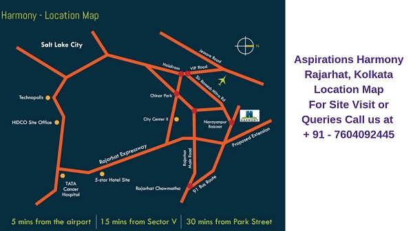 Aspirations Harmony Rajarhat, Kolkata Location Map