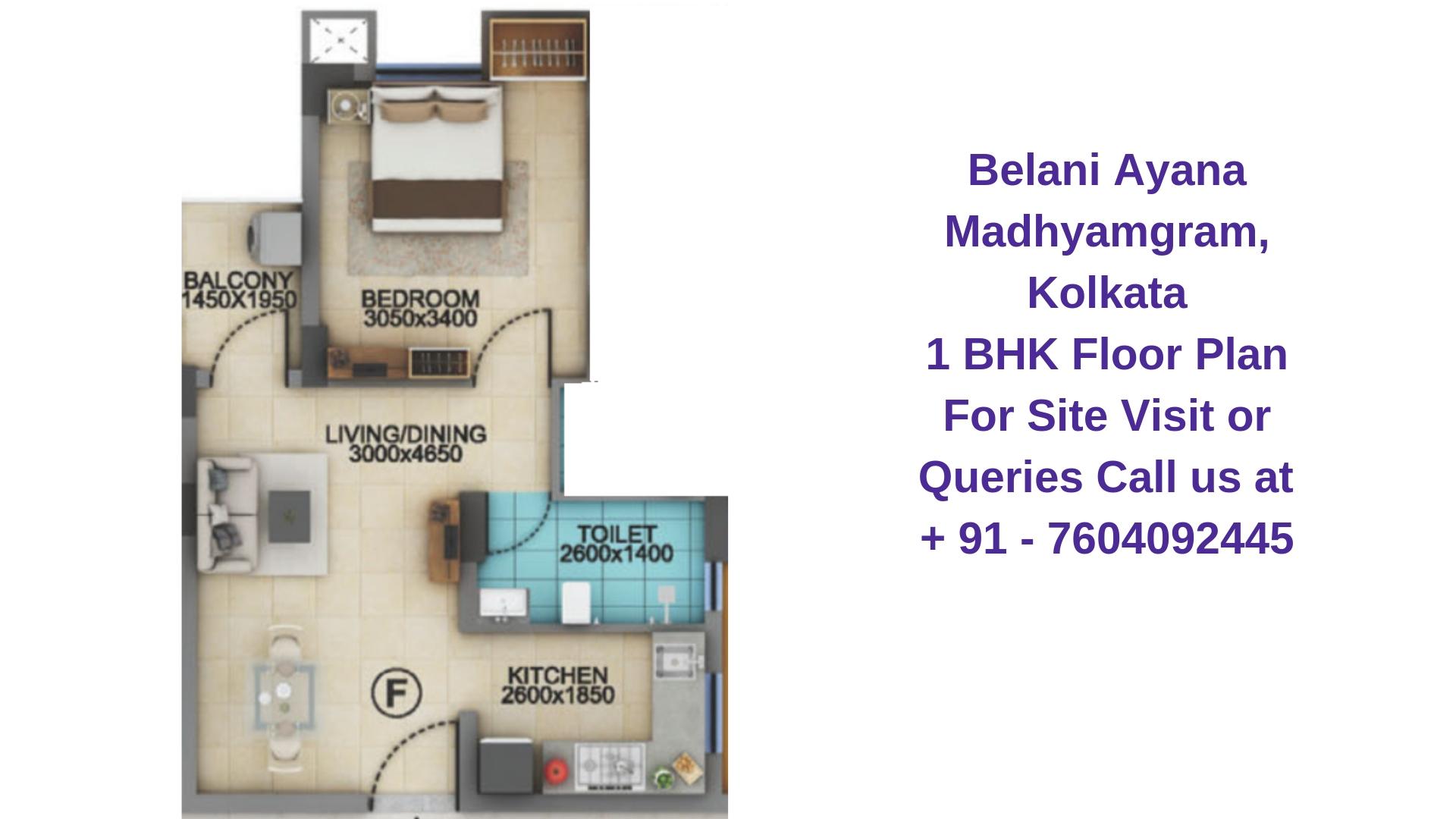 Belani Ayana Madhyamgram, Kolkata 1 BHK Floor Plan