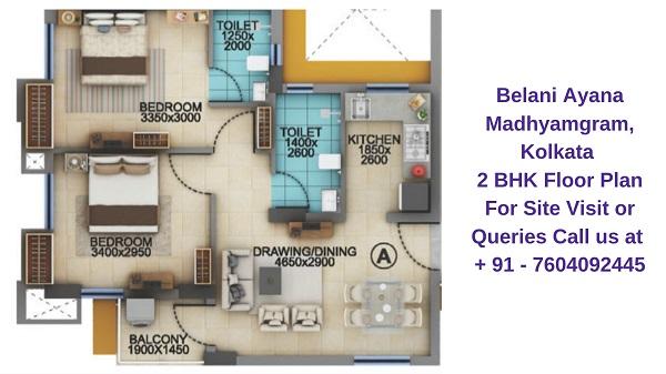 Belani Ayana Madhyamgram, Kolkata 2 BHK Floor Plan