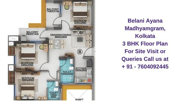 Belani Ayana Madhyamgram, Kolkata 3 BHK Floor Plan