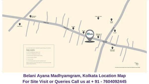 Belani Ayana Madhyamgram, Kolkata Location Map