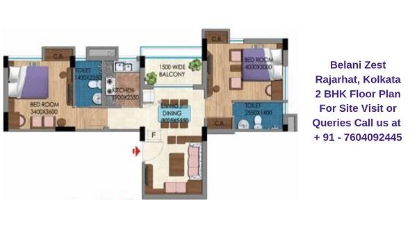 Belani Zest Rajarhat, Kolkata 2 BHK Floor Plan