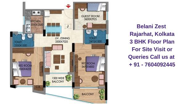 Belani Zest Rajarhat, Kolkata 3 BHK Floor Plan