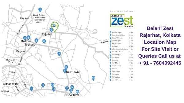 Belani Zest Rajarhat, Kolkata Location Map