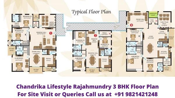 Chandrika Lifestyle Morampudi Rajahmundry 3BHK Floor Plan