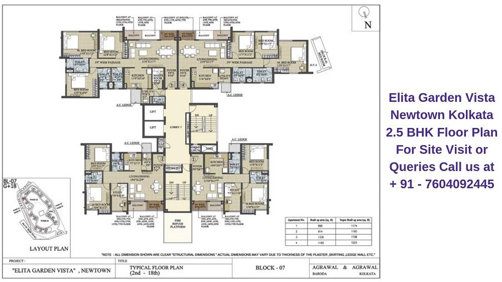 Elita Garden Vista Newtown Kolkata 2.5 BHK Floor Plan