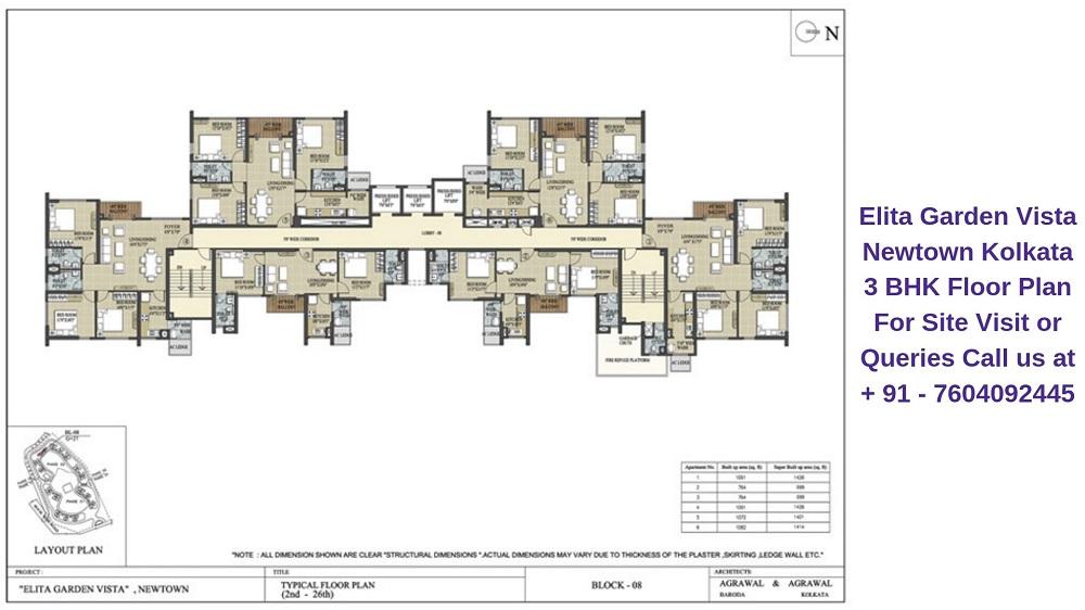 Elita Garden Vista Newtown Kolkata 3 BHK Floor Plan