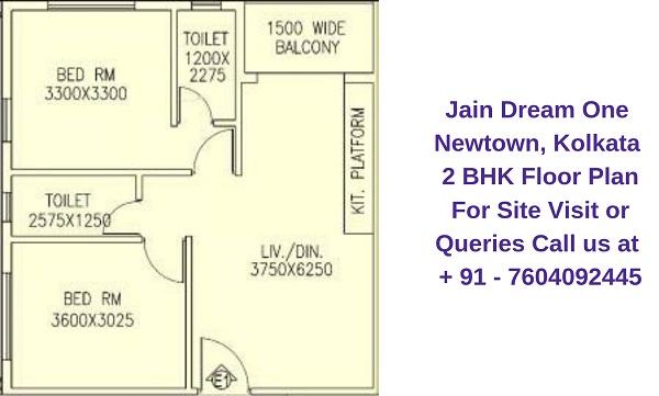 Jain Dream One Newtown, Kolkata 2 BHK Floor Plan