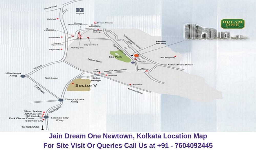 Jain Dream One Newtown, Kolkata Location Map