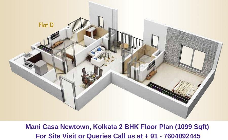 Mani Casa Newtown, Kolkata 2 BHK Floor Plan 1099 Sqft