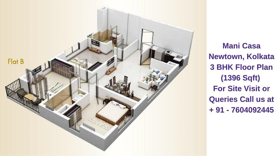 Mani Casa Newtown, Kolkata 3 BHK Floor Plan 1396 Sqft