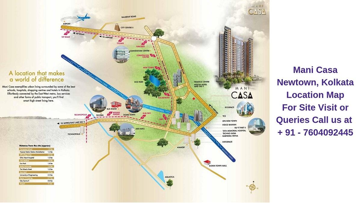 Mani Casa Newtown, Kolkata Location Map