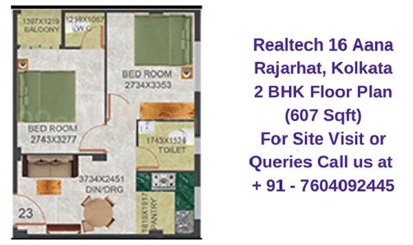 Realtech Nirman 16 Aana Rajarhat, Kolkata 2 BHK Floor Plan 607 Sqft
