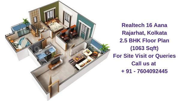 Realtech Nirman 16 Aana Rajarhat, Kolkata 2.5 BHK Floor Plan 1063 Sqft