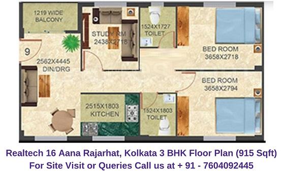 Realtech Nirman 16 Aana Rajarhat, Kolkata 3 BHK Floor Plan 915 Sqft