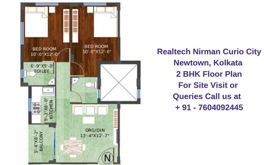 Realtech Nirman Curio City Newtown, Kolkata 2 BHK Floor Plan