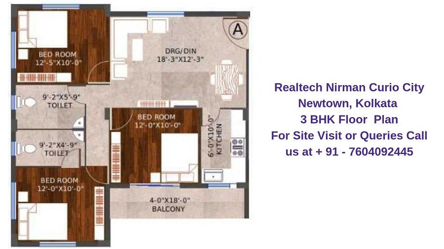 Realtech Nirman Curio City Newtown, Kolkata 3 BHK Floor Plan