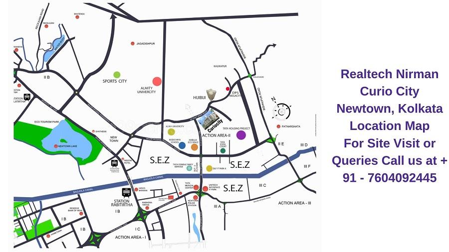 Realtech Nirman Curio City Newtown, Kolkata Location Map