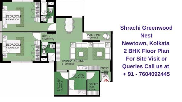 Shrachi Greenwood Nest Rajarhat, Kolkata 2 BHK Floor Plan