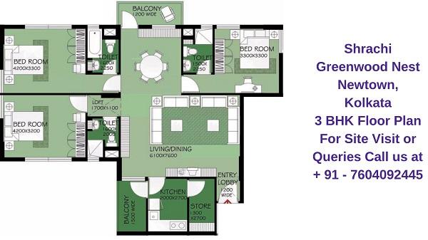 Shrachi Greenwood Nest Rajarhat, Kolkata 3 BHK Floor Plan