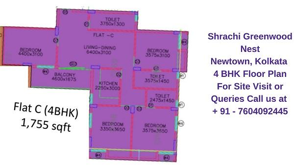 Shrachi Greenwood Nest Rajarhat, Kolkata 4 BHK Floor Plan