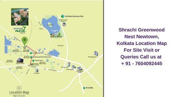 Shrachi Greenwood Nest Rajarhat, Kolkata Location Map
