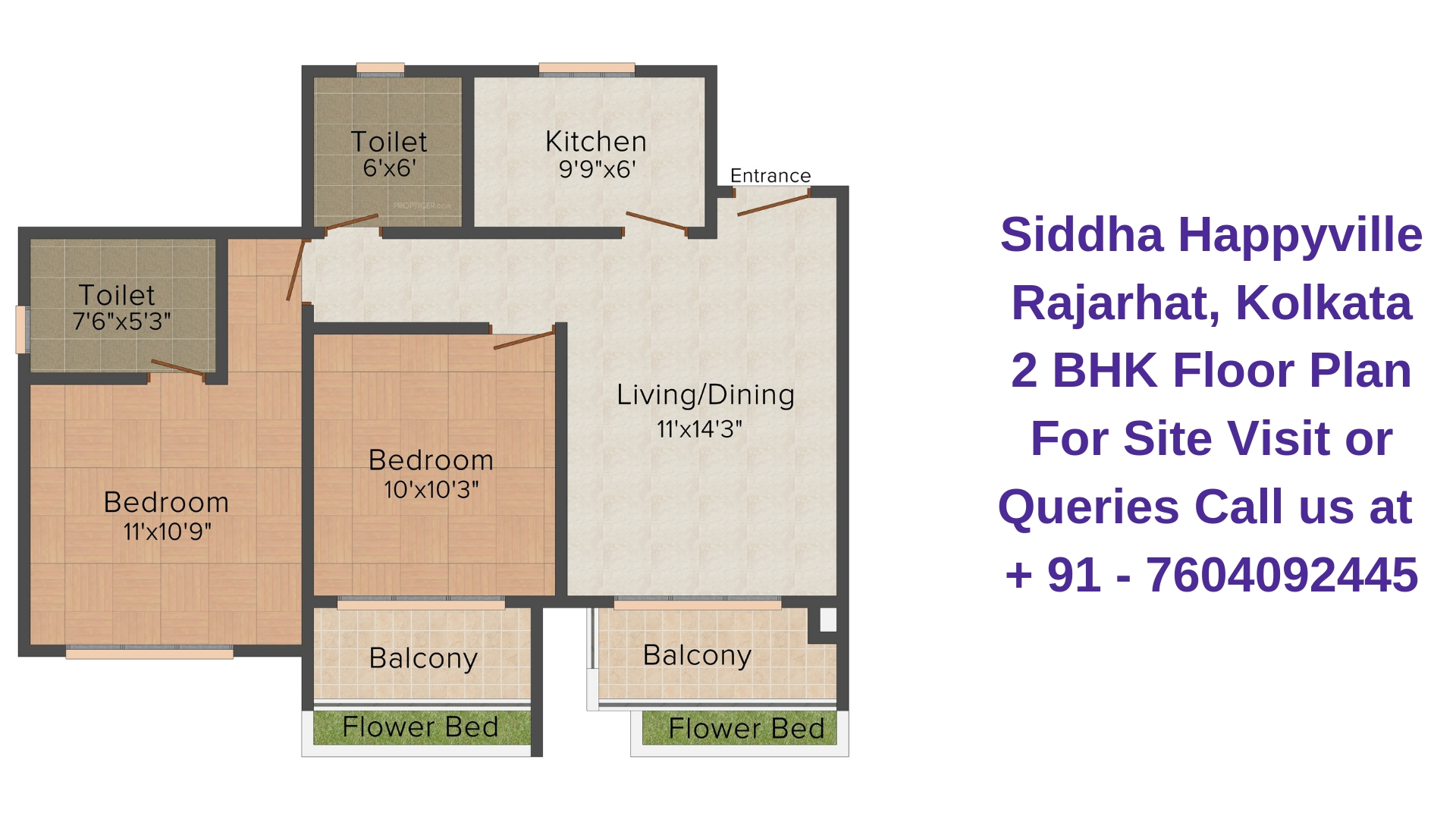 Siddha Happyville Rajarhat, Kolkata 2 BHK Floor Plan