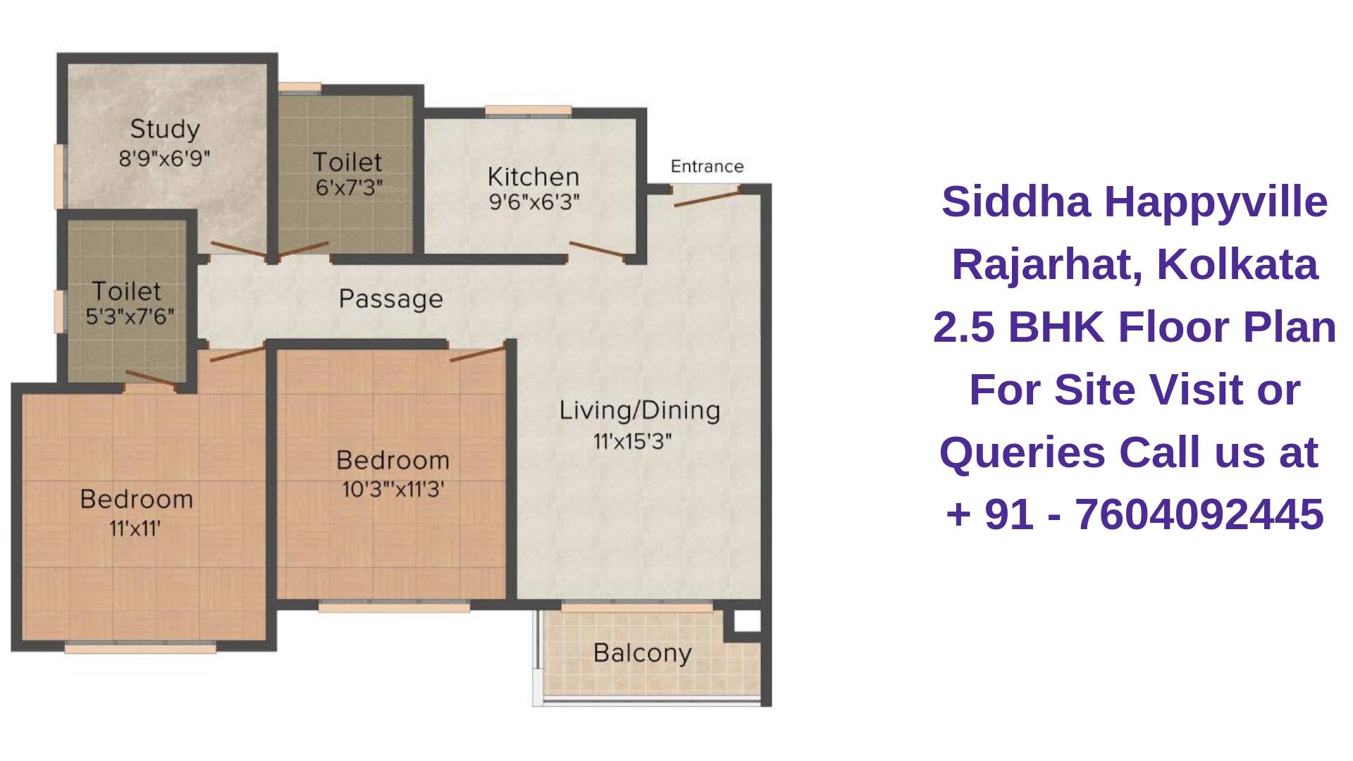 Siddha Happyville Rajarhat, Kolkata 2.5 BHK - 1075 Sqft Floor Plan