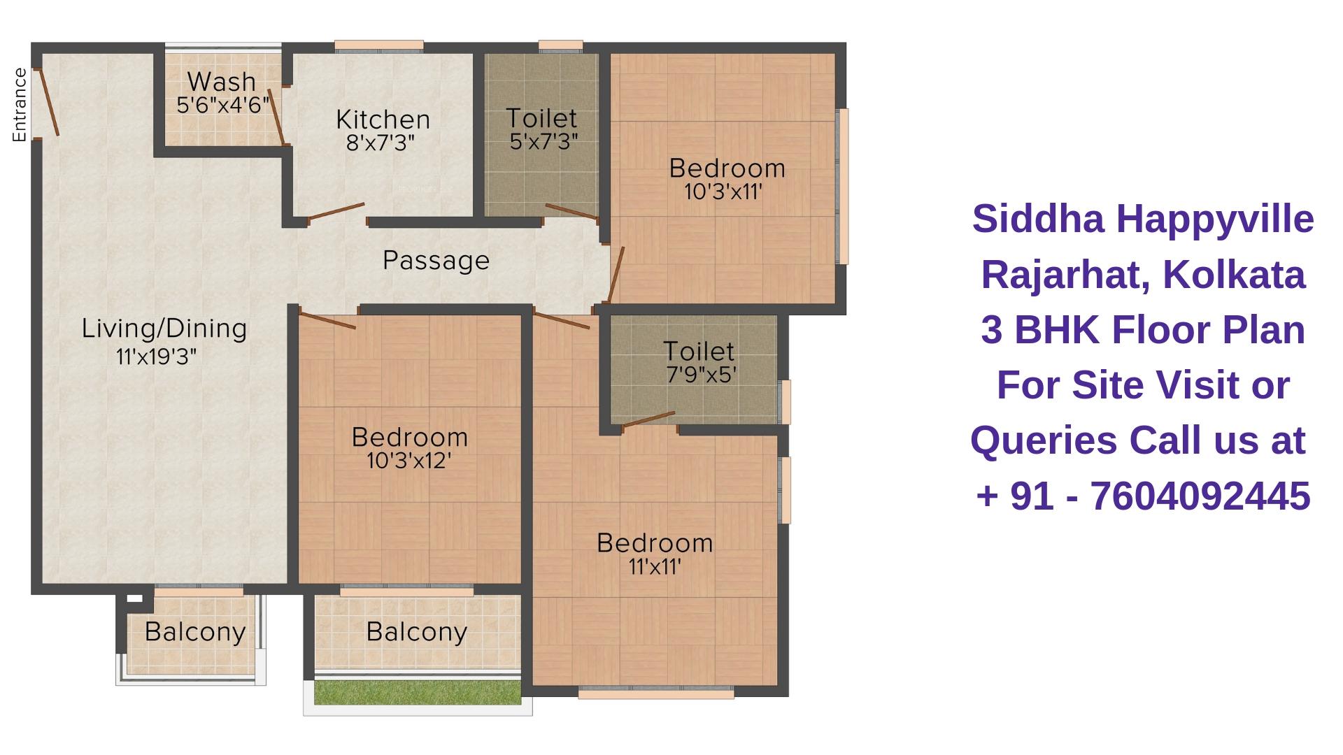 Siddha Happyville Rajarhat, Kolkata 3 BHK Floor Plan