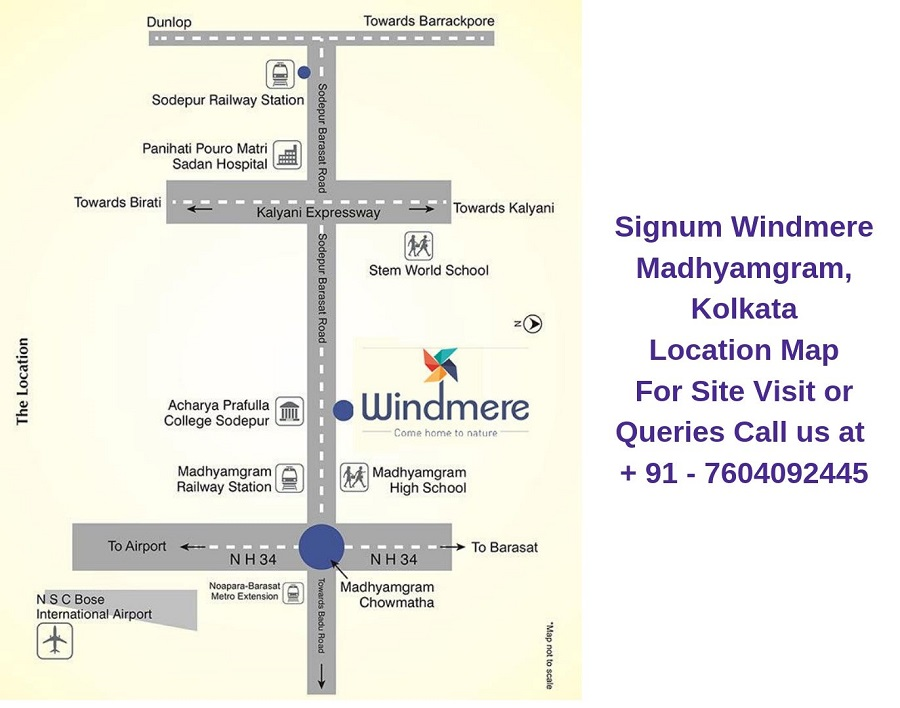 Signum Windmere Madhyamgram, Kolkata Location Map