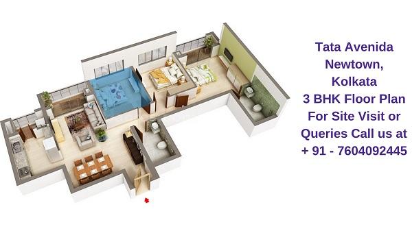 Tata Avenida Newtown, Kolkata 3 BHK Floor Plan