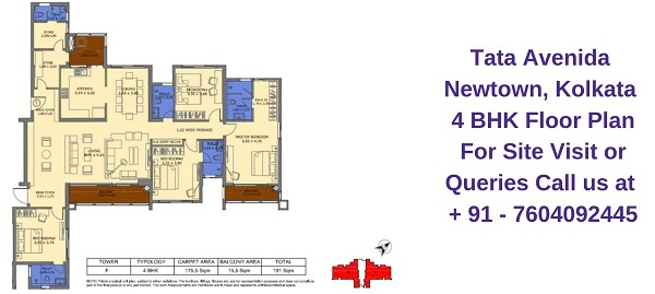 Tata Avenida Newtown, Kolkata 4 BHK Floor Plan