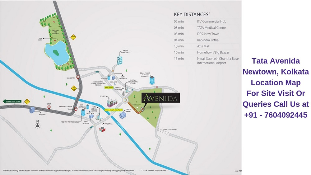 Tata Avenida Newtown, Kolkata Location Map
