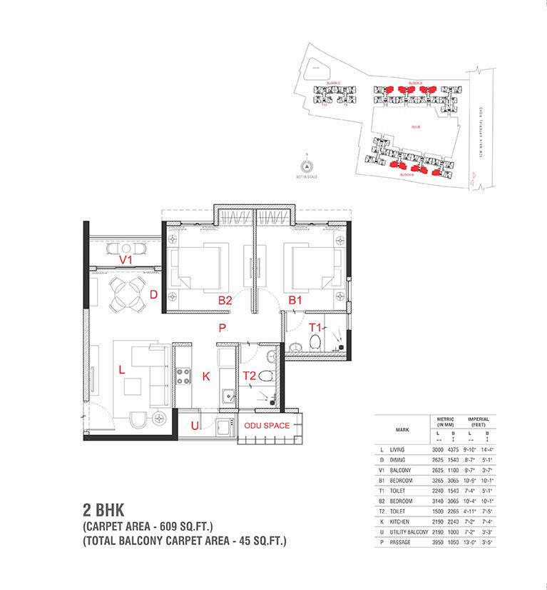 The Soul Rajarhat Kolkata 2 BHK Floor Plan 609 Sqft