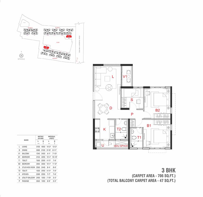 The Soul Rajarhat Kolkata 3 BHK Floor Plan 706 Sqft