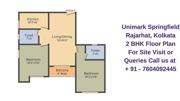 Unimark Springfield Rajarhat, Kolkata 2 BHK Floor Plan