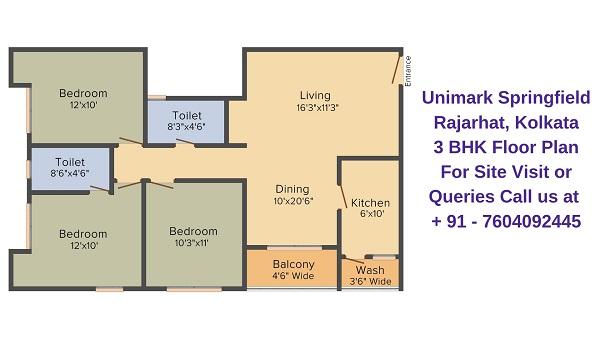 Unimark Springfield Rajarhat, Kolkata 3 BHK Floor Plan