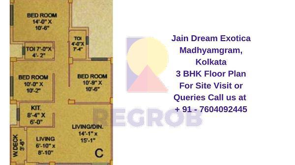Jain Dream Exotica Madhyamgram kolkata 3 BHK Floor Plan