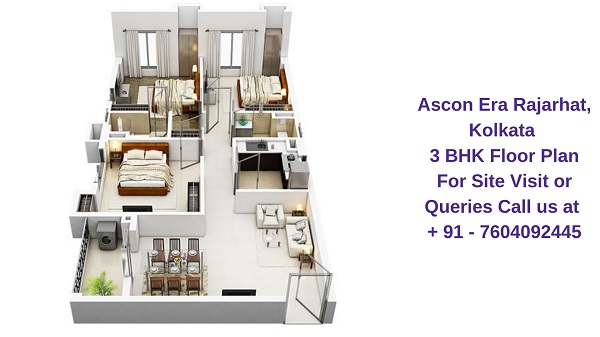Ascon Era Rajarhat, Kolkata 3 BHK Floor Plan