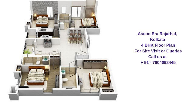 Ascon Era Rajarhat, Kolkata 4 BHK Floor Plan