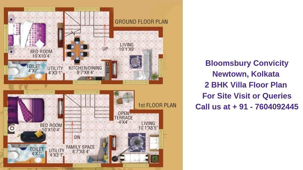 Bloomsbury Convicity Newtown, Kolkata 2 BHK Villa Floor Plan