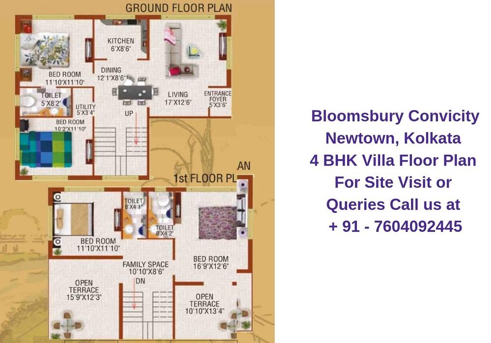 Bloomsbury Convicity Newtown, Kolkata 4 BHK Villa Floor Plan
