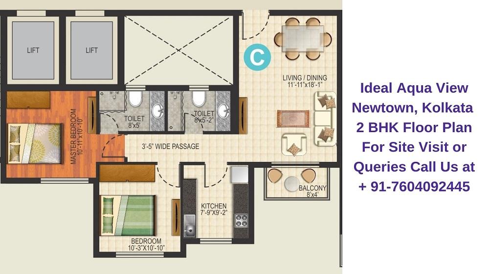 Ideal Aqua View Newtown, Kolkata 2 BHK Floor Plan