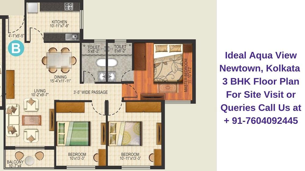 Ideal Aqua View Newtown, Kolkata 3 BHK Floor Plan