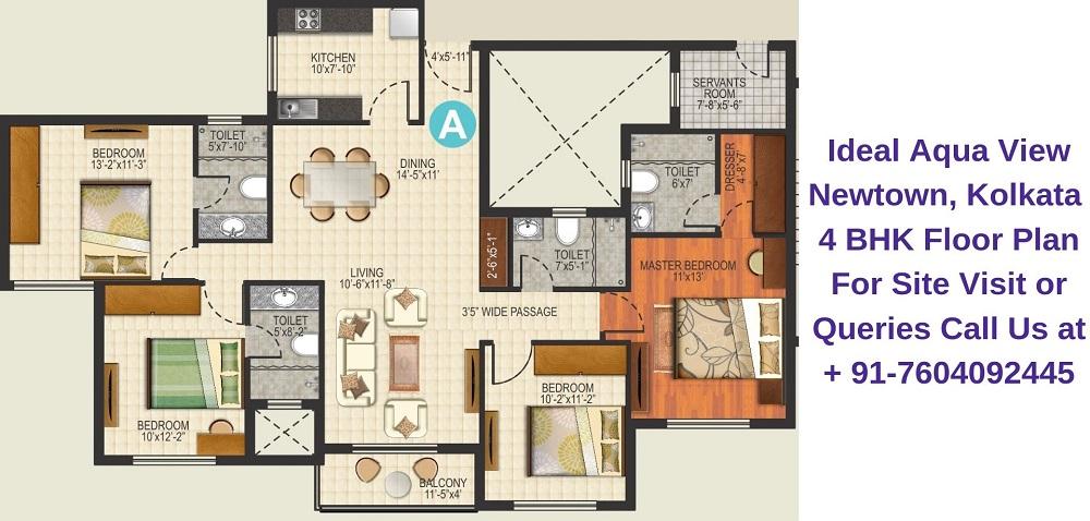 Ideal Aqua View Newtown, Kolkata 4 BHK Floor Plan