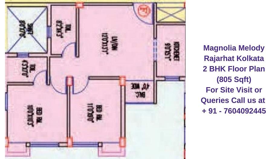 Magnolia Melody Rajarhat Kolkata 2 BHK Floor Plan 805 Sqft
