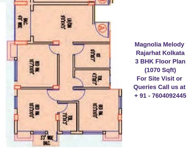 Magnolia Melody Rajarhat Kolkata 3 BHK Floor Plan 1070 Sqft